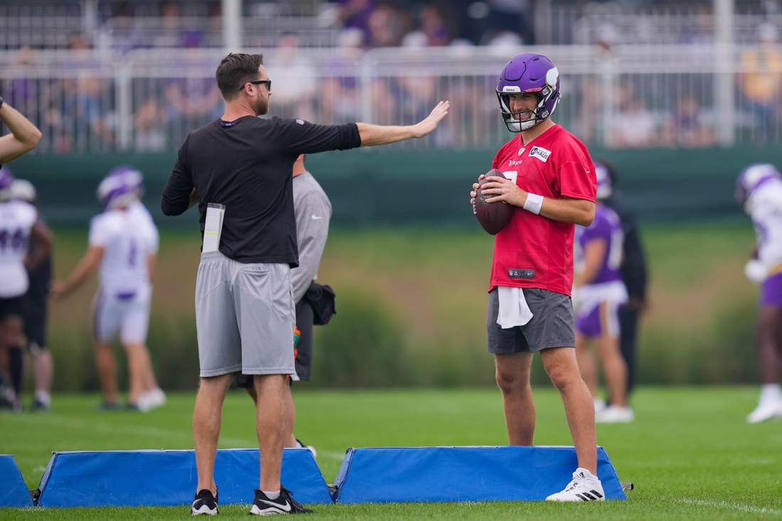 Jul 30, 2021; Eagan, MN, United States; Minnesota Vikings quarterback Kirk Cousins (8) participates in drills at training camp at TCO Performance Center. Mandatory Credit: Brad Rempel-USA TODAY Sports