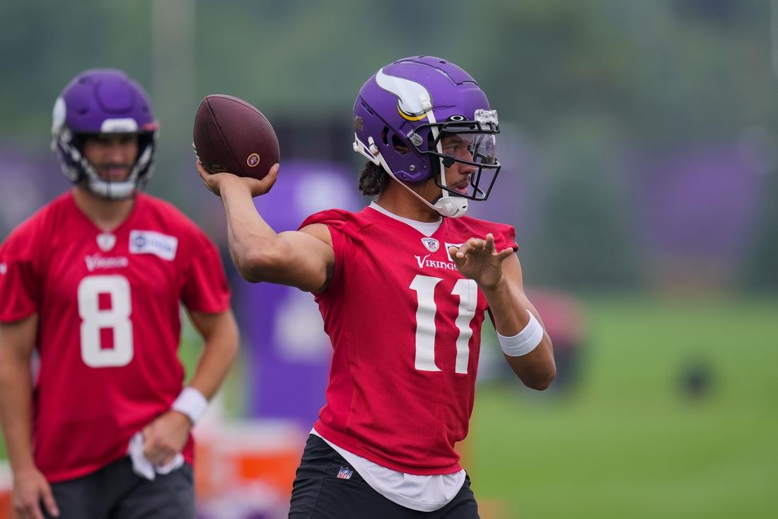 Jul 30, 2021; Eagan, MN, United States; Minnesota Vikings quarterback Kellen Mond (11) participates in drills at training camp at TCO Performance Center. Mandatory Credit: Brad Rempel-USA TODAY Sports