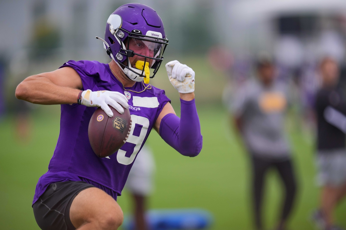 Jul 30, 2021; Eagan, MN, United States; Minnesota Vikings wide receiver Adam Thielen (19) catches a pass at training camp at TCO Performance Center. Mandatory Credit: Brad Rempel-USA TODAY Sports