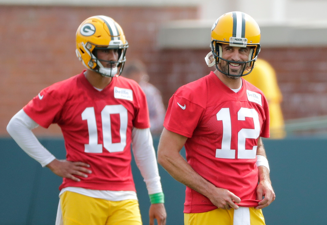 Green Bay Packers quarterback Jordan Love (10) and quarterback Aaron Rodgers (12) participate in training camp Wednesday, July 28, 2021, in Green Bay, Wis.  Dan Powers/USA TODAY NETWORK-Wisconsin  Apc Packerstrainingcamp 0728211387djpa