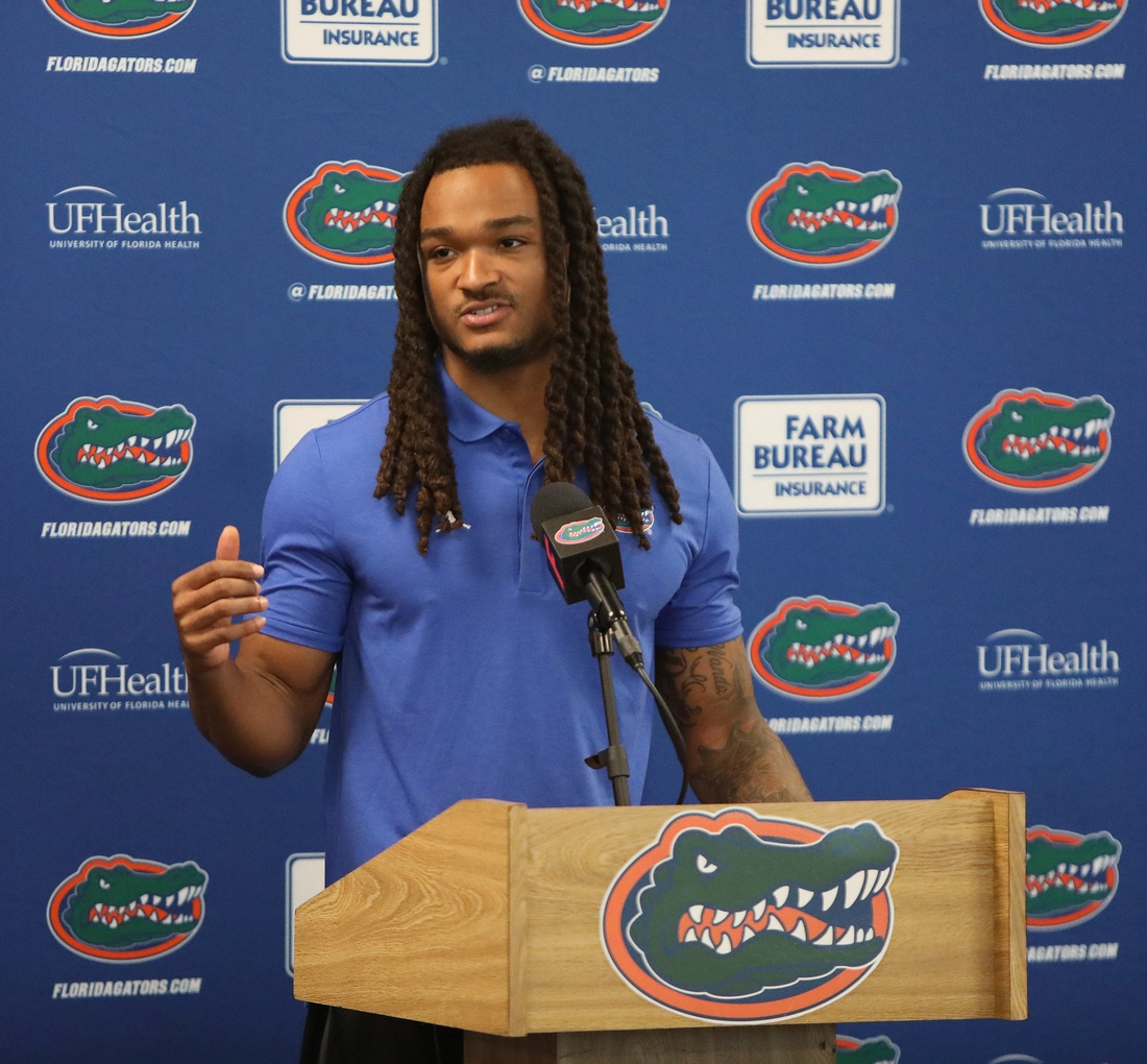Jaydon Hill, a Florida Gators cornerback, responds to a question from the media during a press conference before the start of  Fall football practice, at Ben Hill Griffin Stadium in Gainesville, Fla., Aug. 5, 2021.  UFmediaDay09