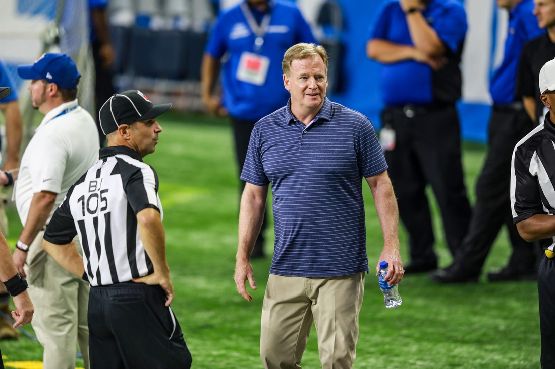 NFL commissioner Roger Goodell watches the Lions during a team practice at Ford Field on Saturday, Aug. 7, 2021.  Fordfieldpractice 080724