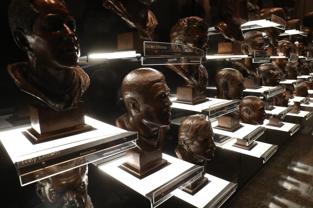 The bust display in the HOF museum before the Pro Football Hall of Fame Enshrinement ceremony Sunday, Aug. 8, 2021 at Tom Benson Hall of Fame Stadium in Canton, Ohio.  Hof Calvin
