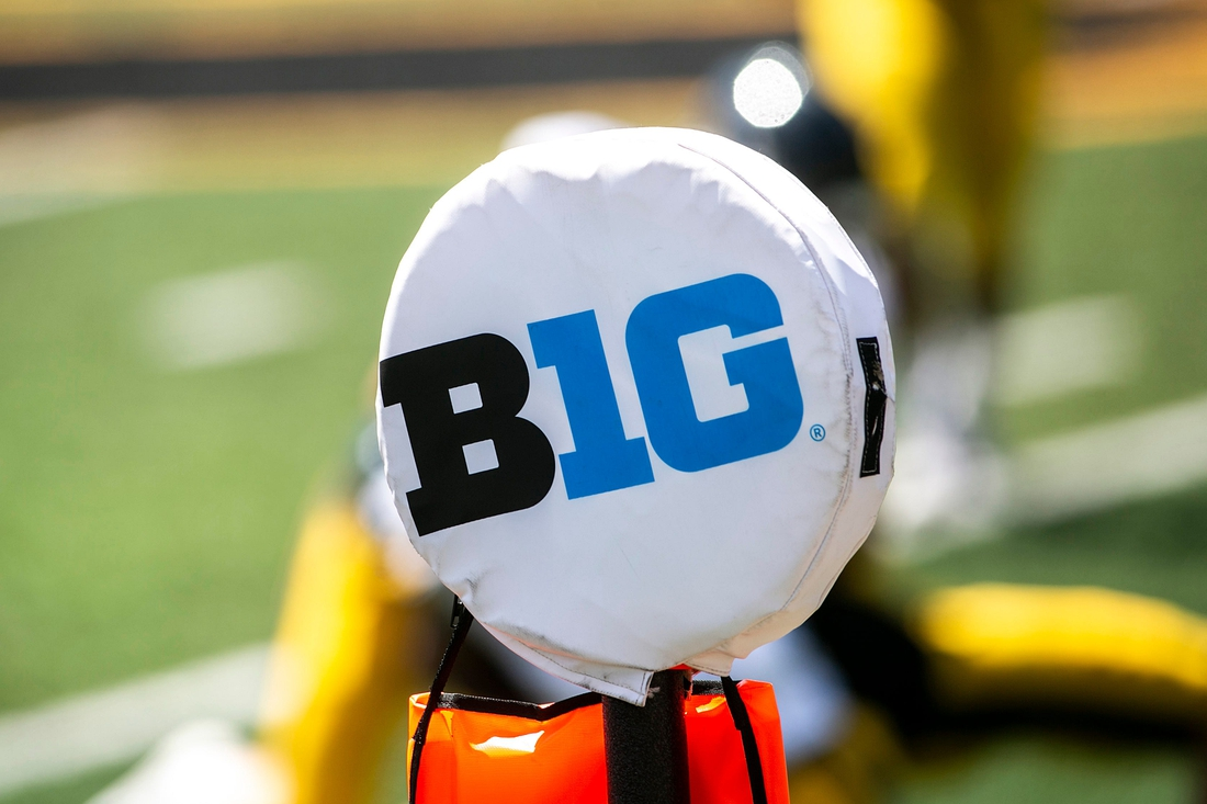 The logo of the Big Ten Conference is seen on a yard marker during Iowa Hawkeyes football Kids Day at Kinnick open practice, Saturday, Aug. 14, 2021, at Kinnick Stadium in Iowa City, Iowa.  210814 Ia Fb Kids Day 109 Jpg