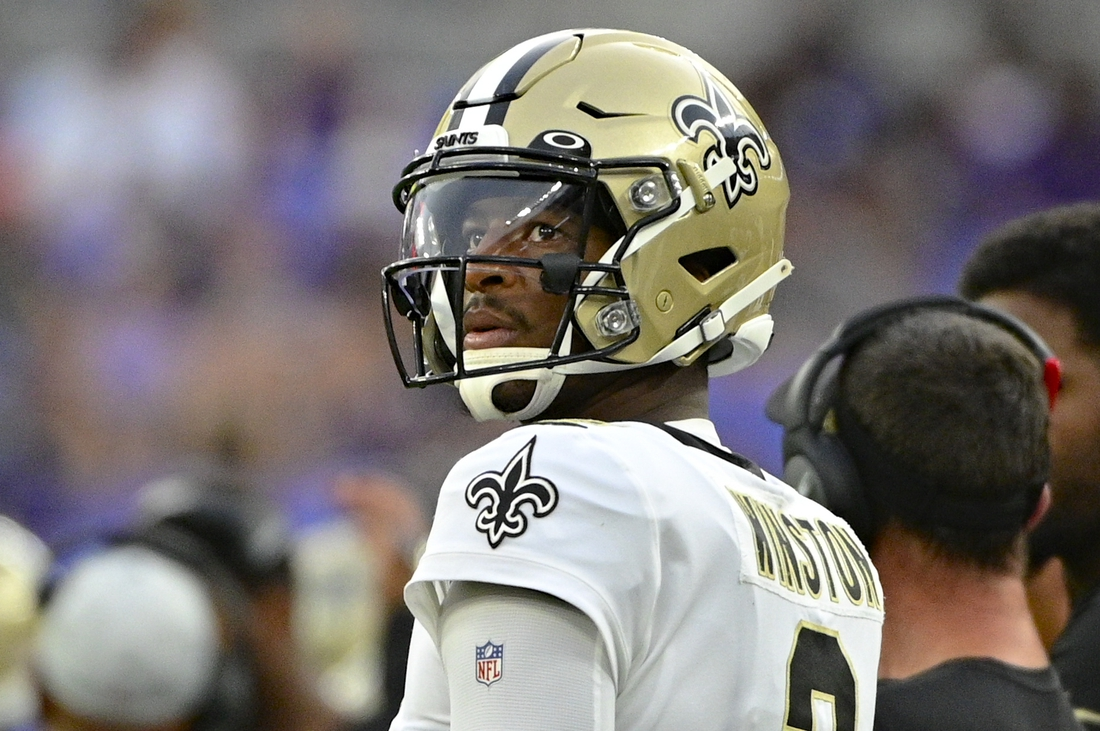 Aug 14, 2021; Baltimore, Maryland, USA;  New Orleans Saints quarterback Jameis Winston (2) looks towards the score board during the first quarter against the Baltimore Ravens at M&T Bank Stadium. Mandatory Credit: Tommy Gilligan-USA TODAY Sports