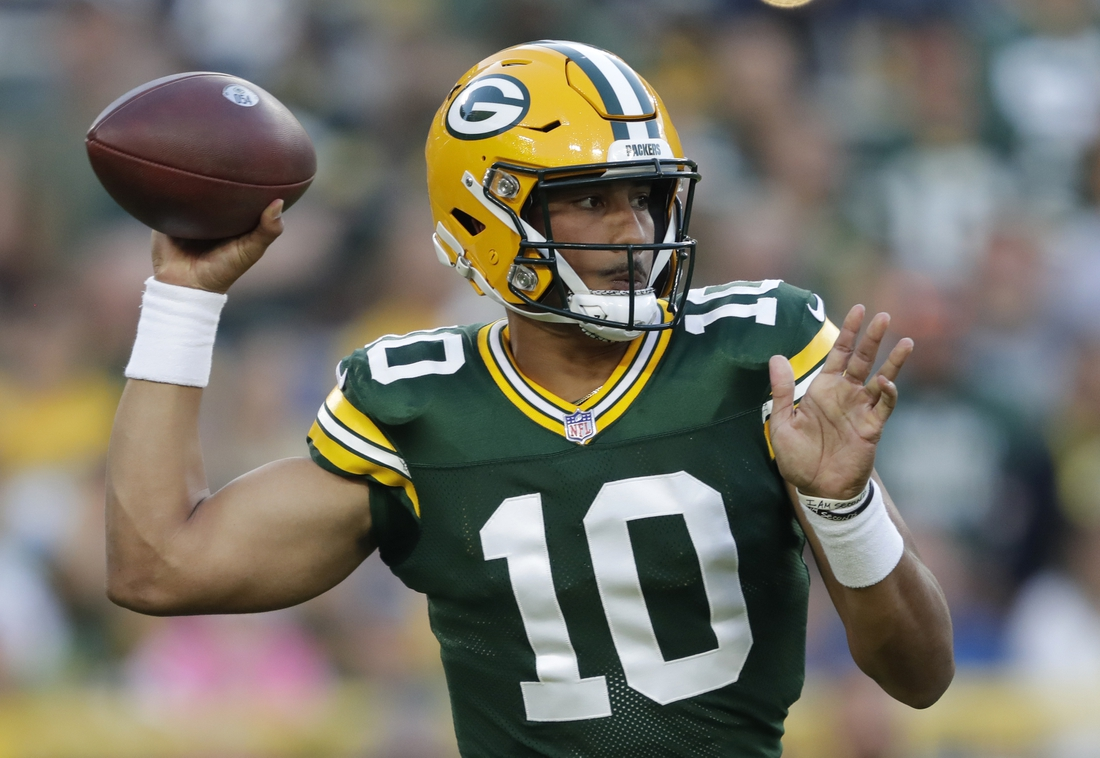 Aug 14, 2021; Green Bay, Wisconsin, USA; Green Bay Packers quarterback Jordan Love (10) looks to throw against the Houston Texans during their football game Saturday, August 14, 2021, at Lambeau Field in Green Bay, Wis.     Mandatory Credit: Dan Powers-USA TODAY Sports