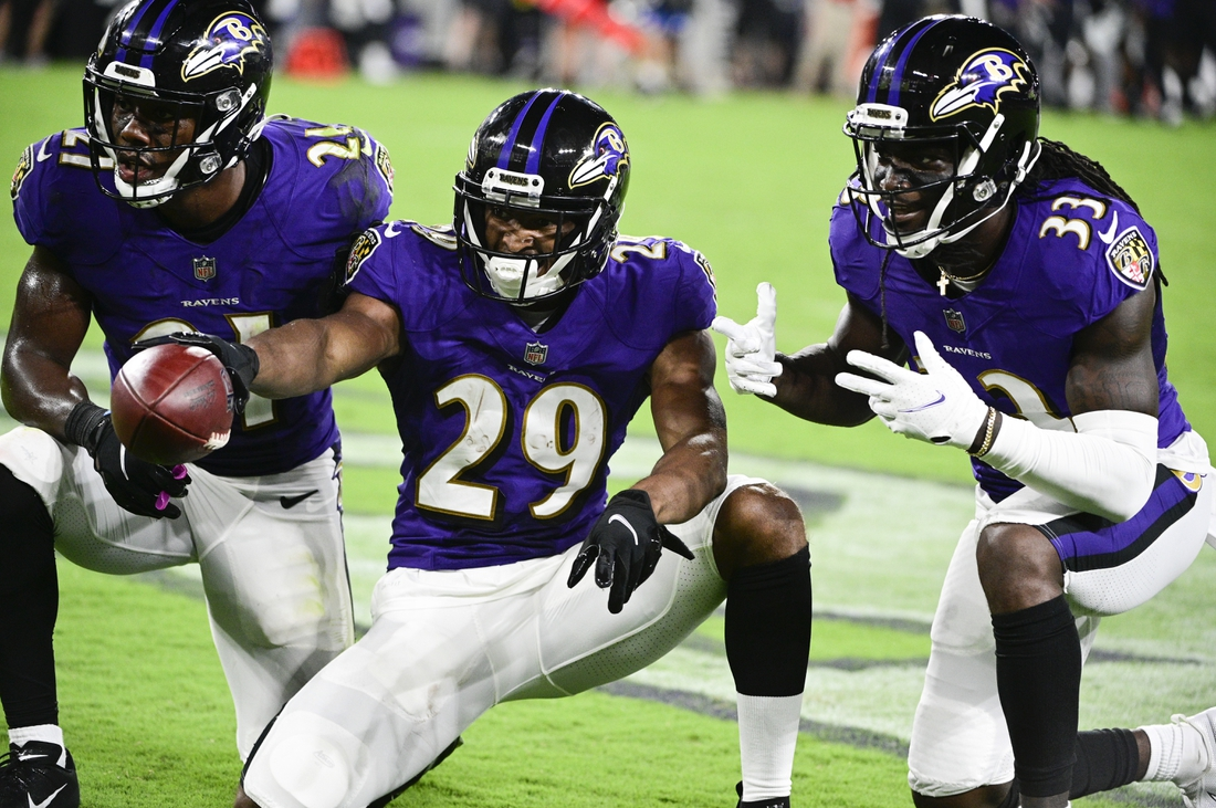 Aug 14, 2021; Baltimore, Maryland, USA; Baltimore Ravens cornerback Shaun Wade (29) celebrates with  cornerback Brandon Stephens (21) and Baltimore Ravens cornerback Davontae Harris (33) after interception a New Orleans Saints quarterback Ian Book (not pictured ) pass  during the second half at M&T Bank Stadium. Mandatory Credit: Tommy Gilligan-USA TODAY Sports