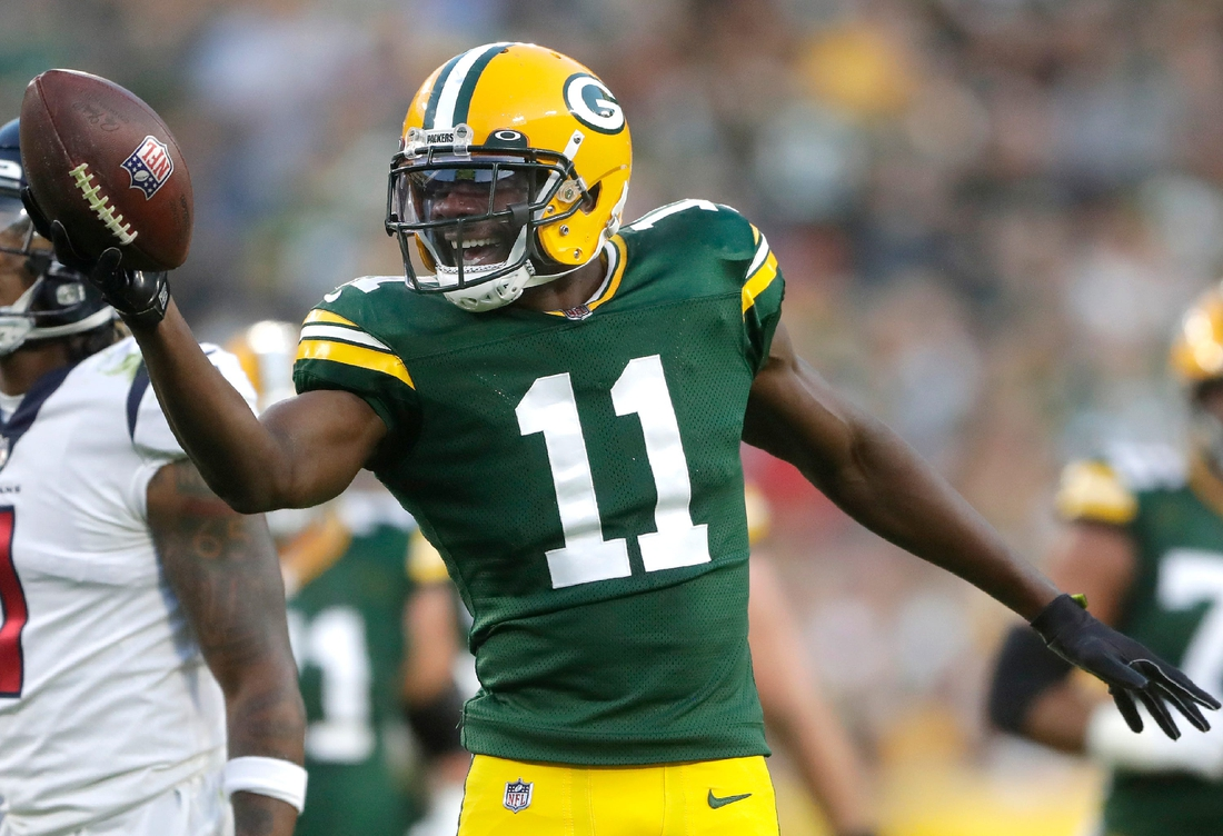 Green Bay Packers wide receiver Devin Funchess (11) against the Houston Texans during their preseason football game on Saturday, August 14, 2021, at Lambeau Field in Green Bay, Wis. Wm. Glasheen USA TODAY NETWORK-Wisconsin  Apc Packers Vs Texans 1426 081421wag