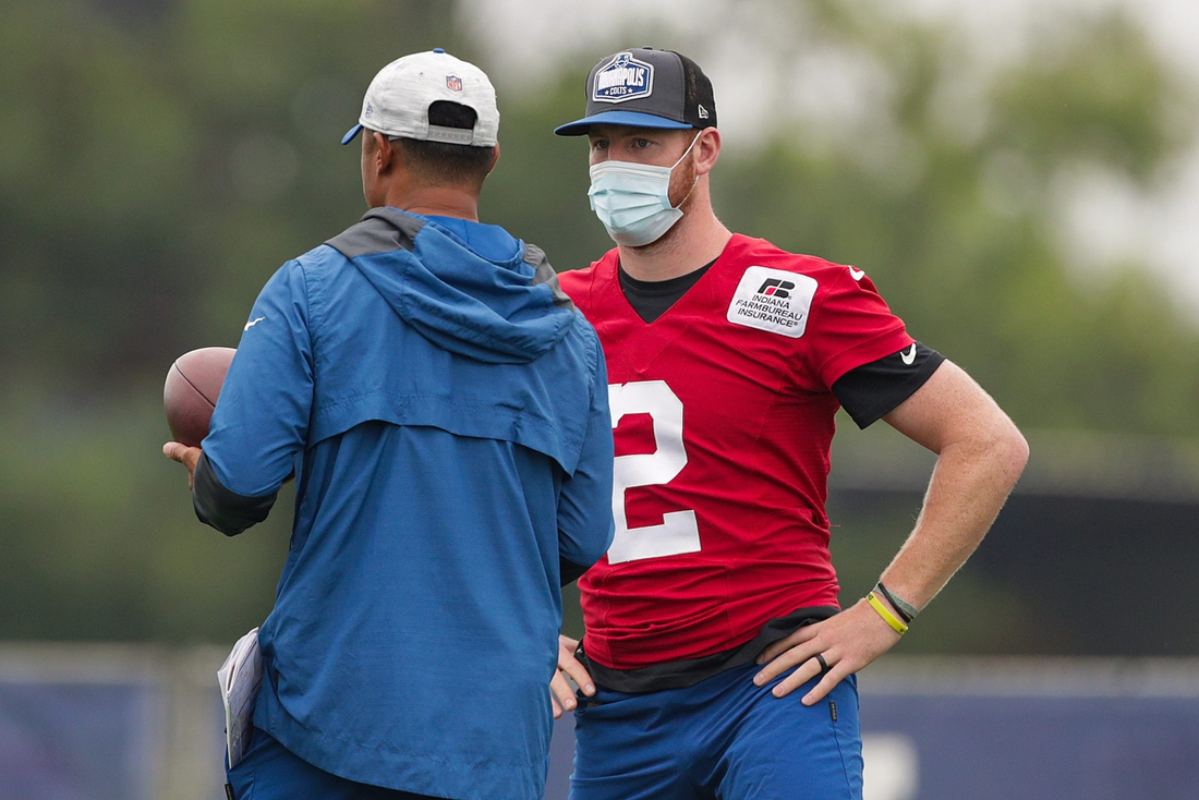 Indianapolis Colts quarterback Carson Wentz (2) took the field to observe practice Tuesday, Aug. 17, 2021, during training camp at Grand Park in Westfield, Ind.  Indianapolis Colts Training Camp At Grand Park In Westfield Indiana Tuesday Aug 17 2021