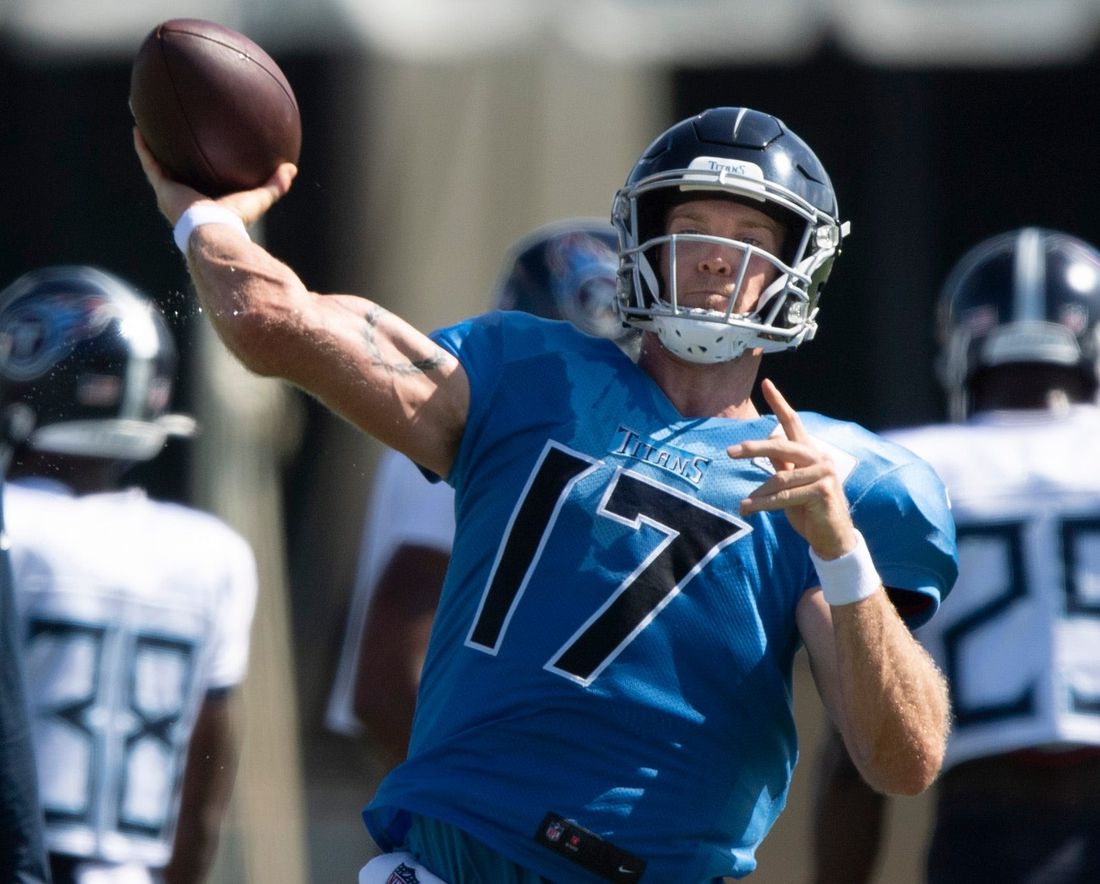 Tennessee Titans quarterback Ryan Tannehill (17) throws pass during a joint training camp practice against the Tampa Bay Buccaneers at AdventHealth Training Center Wednesday, Aug. 18, 2021 in Tampa, Fla.  Nas Titans Buccs 023