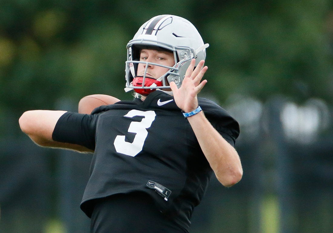 Ohio State Buckeyes quarterback Quinn Ewers (3) throws during football training camp at the Woody Hayes Athletic Center in Columbus on Wednesday, Aug. 18, 2021.  Ohio State Football Training Camp