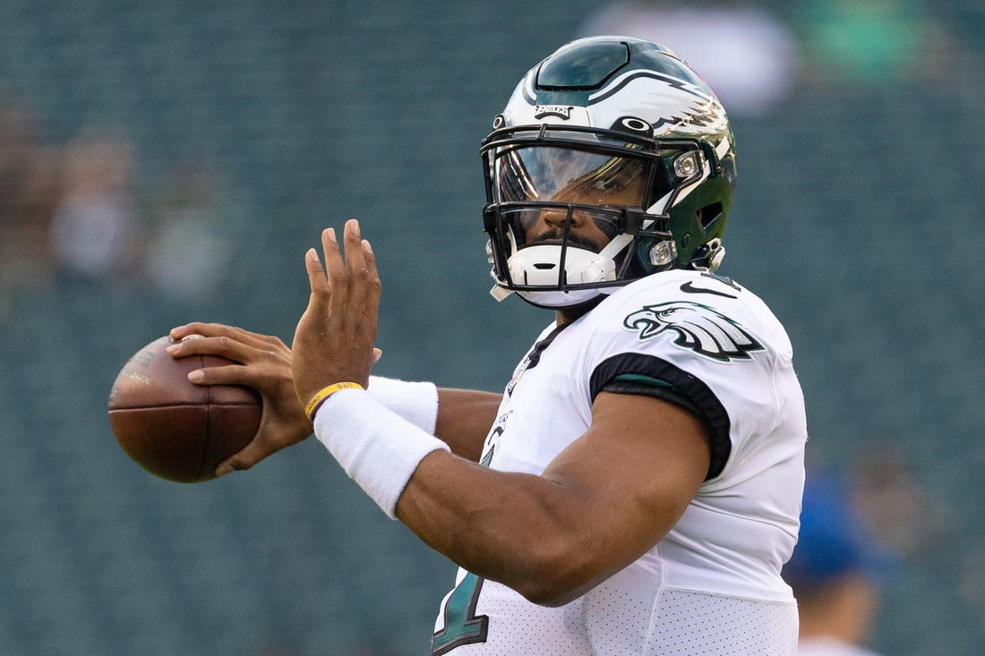 Aug 19, 2021; Philadelphia, Pennsylvania, USA; Philadelphia Eagles quarterback Jalen Hurts (1) warms up before action against the New England Patriots at Lincoln Financial Field. Mandatory Credit: Bill Streicher-USA TODAY Sports