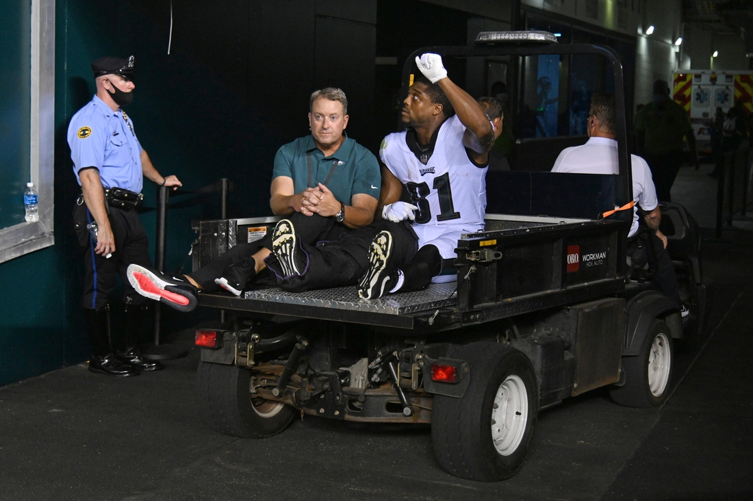 Aug 19, 2021; Philadelphia, Pennsylvania, USA; Philadelphia Eagles tight end Jason Croom (81) is carted off the field after suffering an apparent leg injury during the second quarter against the New England Patriots at Lincoln Financial Field. Mandatory Credit: Eric Hartline-USA TODAY Sports