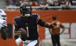 Aug 21, 2021; Chicago, Illinois, USA;  Chicago Bears quarterback Justin Fields (1) looks to pass against the Buffalo Bills during the second half at Soldier Field. Mandatory Credit: Matt Marton-USA TODAY Sports