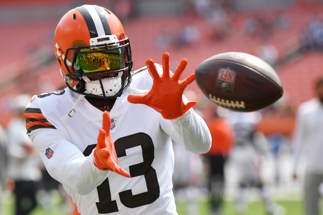 Aug 22, 2021; Cleveland, Ohio, USA; Cleveland Browns wide receiver Odell Beckham Jr. (13) catches a pass before the game between the Cleveland Browns and the New York Giants at FirstEnergy Stadium. Mandatory Credit: Ken Blaze-USA TODAY Sports