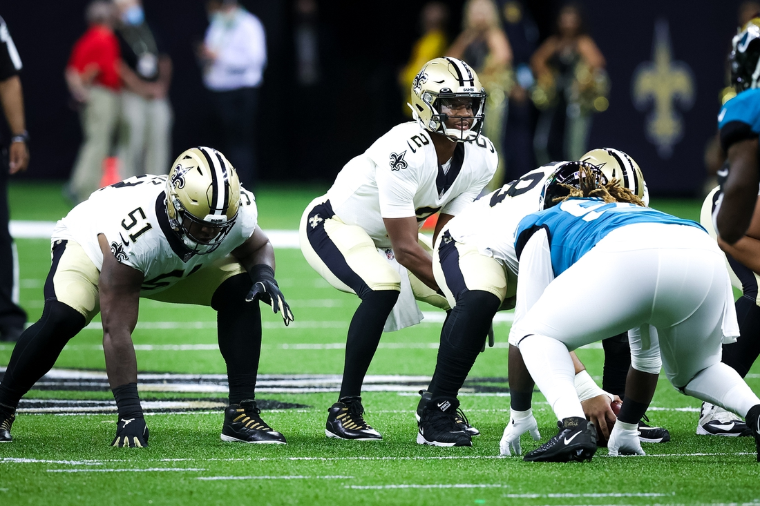 Aug 23, 2021; New Orleans, Louisiana, USA; New Orleans Saints quarterback Jameis Winston (2) waits for the snap against the Jacksonville Jaguars during the first half at Caesars Superdome. Mandatory Credit: Stephen Lew-USA TODAY Sports