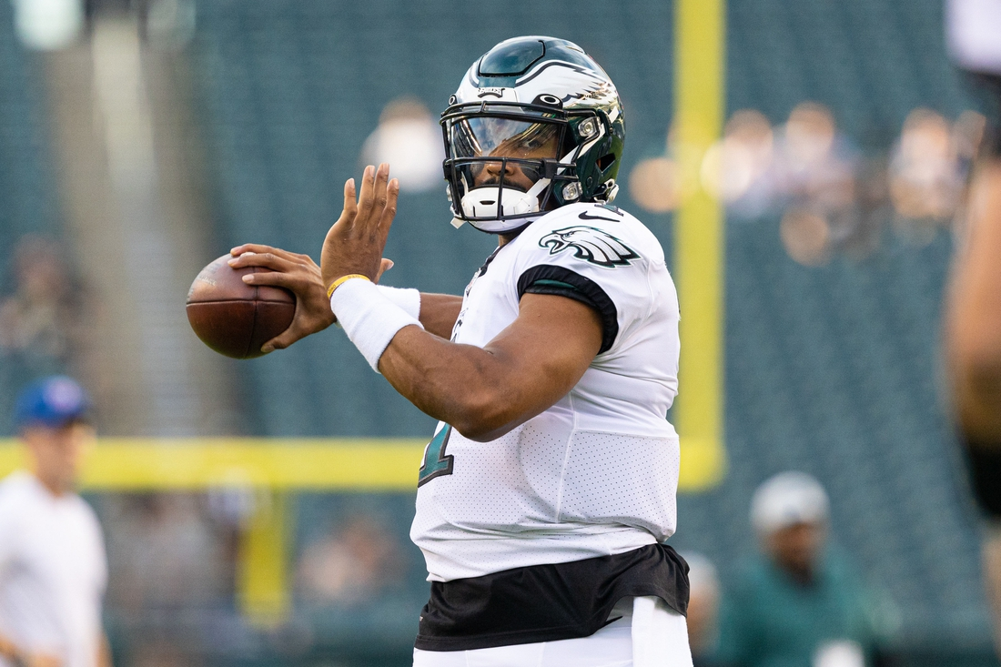 Aug 19, 2021; Philadelphia, Pennsylvania, USA; Philadelphia Eagles quarterback Jalen Hurts (1) before a game against the New England Patriots at Lincoln Financial Field. Mandatory Credit: Bill Streicher-USA TODAY Sports
