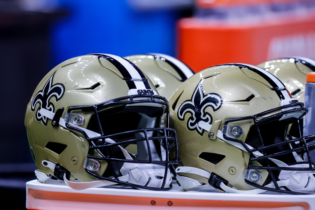 Aug 23, 2021; New Orleans, Louisiana, USA;  New Orleans Saints helmets during the game between the New Orleans Saints and the Jacksonville Jaguars during the first half at Caesars Superdome. Mandatory Credit: Stephen Lew-USA TODAY Sports