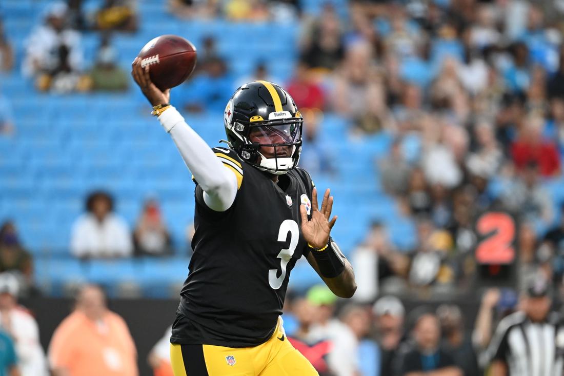 Aug 27, 2021; Charlotte, North Carolina, USA;  Pittsburgh Steelers quarterback Dwayne Haskins (3) passes the ball in the first quarter at Bank of America Stadium. Mandatory Credit: Bob Donnan-USA TODAY Sports