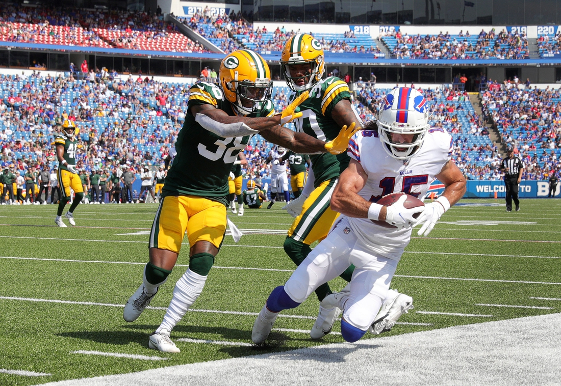Bills receiver Jake Kumerow makes a circus catch but can't keep his feet in bounds agains the Packers.  Jg 082821 Bills 5