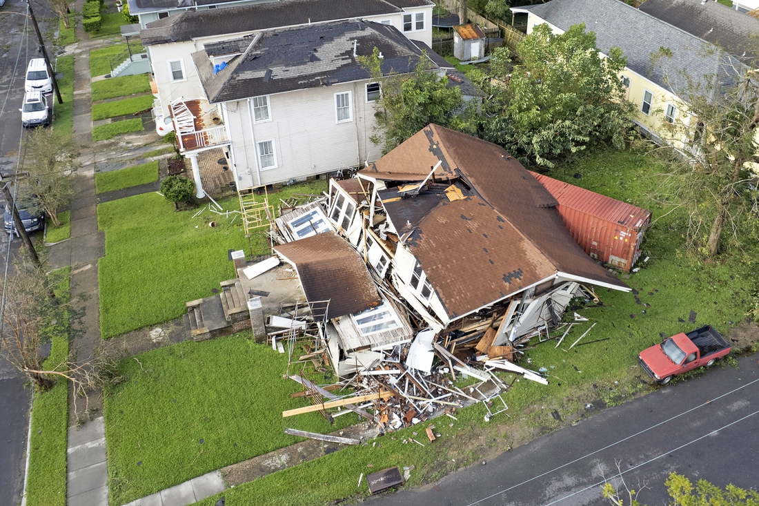 August 30, 20201; New Orleans, LA, USA; Dartanian Stovall's house that collapsed with him inside during the height of Hurricane Ida in New Orleans. Stovall was inside the house he was renovating on Lasalle Street in the Uptown neighborhood when he said the chimney collapsed and the rest of the house followed. He managed to crawl to safety and despite the loss of the home said,    At least I   m alive.     Mandatory Credit: Michael DeMocker-USA TODAY NETWORK