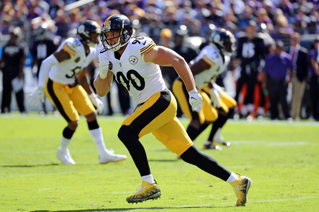 Oct 1, 2017; Baltimore, MD, USA; Pittsburgh Steelers linebacker TJ Watt (90) defends a pass against the Baltimore Ravens at M&T Bank Stadium. Mandatory Credit: Mitch Stringer-USA TODAY Sports