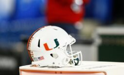 Dec 2, 2017; Charlotte, NC, USA; A Miami Hurricanes helmet lays on the sidelines in the first quarter against the Clemson Tigers in the ACC championship game at Bank of America Stadium. Mandatory Credit: Jeremy Brevard-USA TODAY Sports