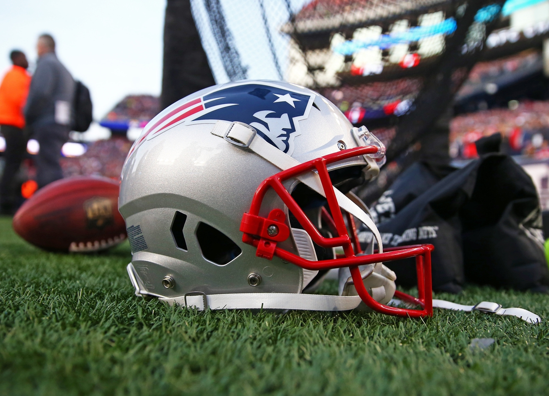Jan 21, 2018; Foxborough, MA, USA; Detailed view of a New England Patriots football helmet on the field during the AFC Championship Game against the Jacksonville Jaguars at Gillette Stadium. Mandatory Credit: Mark J. Rebilas-USA TODAY Sports