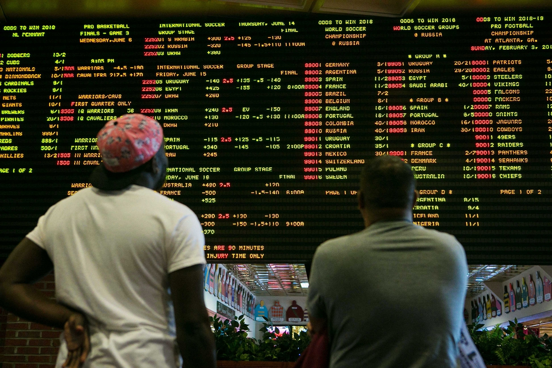 June 5, 2018; Stanton, DE, USA; At 1:30 p.m. today Tuesday, June 5, 2018, Delaware launches the country's first full-scale sports betting operation outside of Nevada as people roll into the Casino at Delaware Park in Stanton, Del. to wager their bets. Mandatory Credit: Suchat Pederson/The News Journal via USA TODAY NETWORK