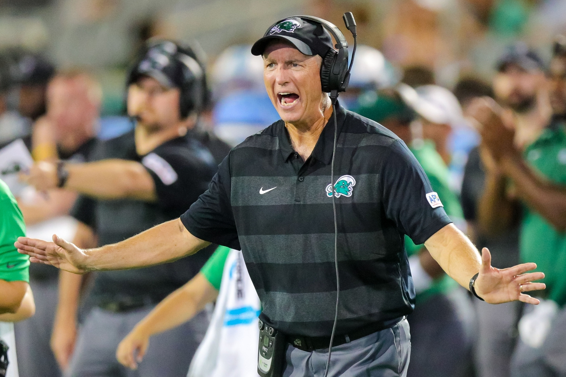 Aug 30, 2018; New Orleans, LA, USA; Tulane Green Wave head coach Willie Fritz shows emotion in the third quarter against Wake Forest Demon Deacons at Yulman Stadium. Mandatory Credit: Stephen Lew-USA TODAY Sports