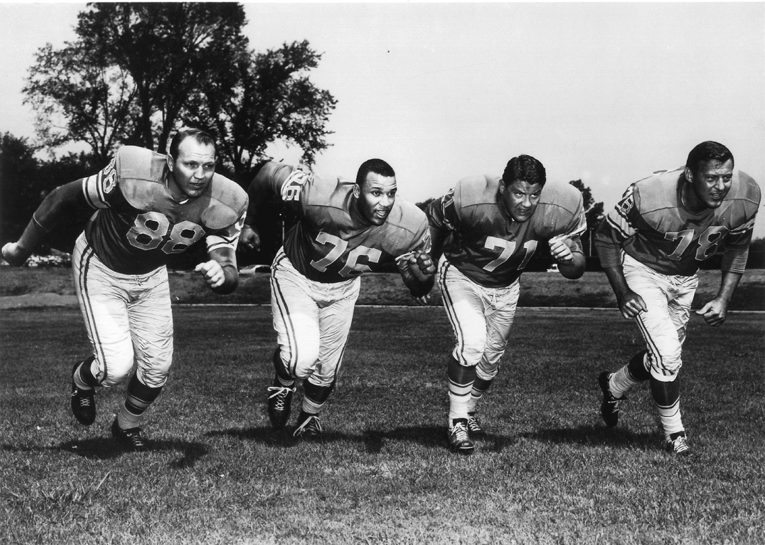 """The Detroit Lions 1960's """"Fearsome Foursome"""" includes players Sam Williams, Roger Brown, Alex Karras and Darris McCord,  Dfp 1010 Mccord Four 1 1 645bvqh8 L299829078a"""