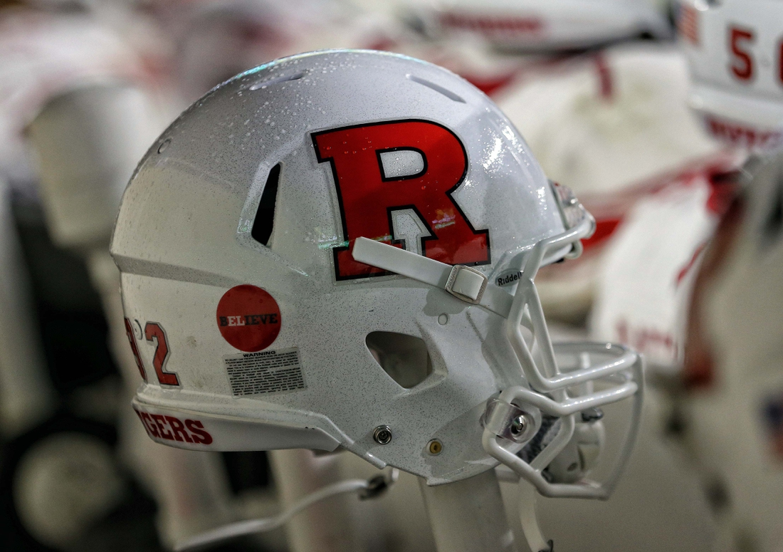 Nov 24, 2018; East Lansing, MI, USA; Close-up veiw of a Rutgers Scarlet Knights helmet during the first half of a game against the Michigan State Spartans at Spartan Stadium. Mandatory Credit: Mike Carter-USA TODAY Sports