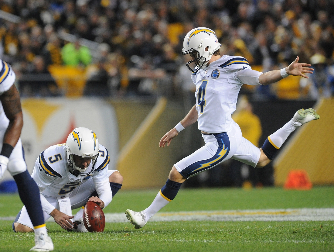Dec 2, 2018; Pittsburgh, PA, USA; Los Angeles Chargers kicker Michael Badgley (4) misses a first quarter field goal against the Pittsburgh Steelers at Heinz Field.  Mandatory Credit: Philip G. Pavely-USA TODAY Sports