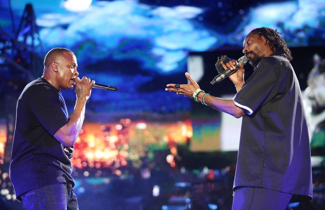 Dr. Dre and Snoop Dogg perform on the Coachella Stage during the Coachella Valley Music and Arts Festival at the Empire Polo Fields in April 2012 in Indio. The rappers surprised the crowd when they performed with a hologram of Tupac Shakur, who died in 1996.  Coachella 2012 2