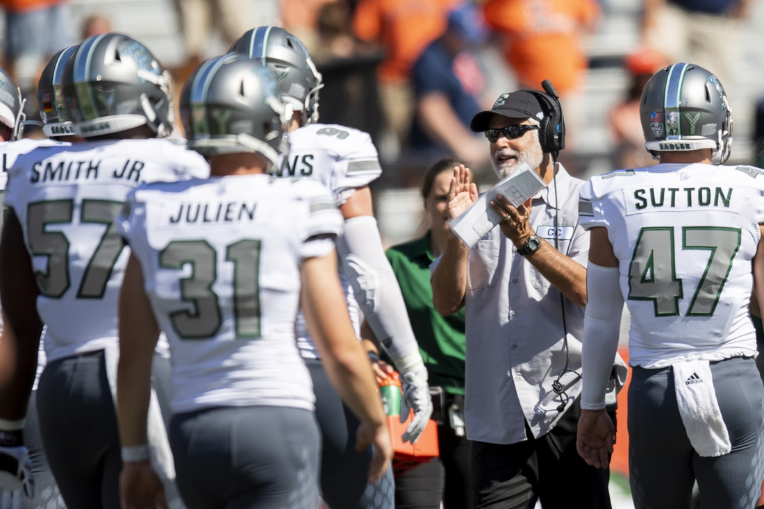 Sep 14, 2019; Champaign, IL, USA; Eastern Michigan Eagles head coach Chris Creighton reacts during the second half against the Illinois Fighting Illini at Memorial Stadium. Mandatory Credit: Patrick Gorski-USA TODAY Sports