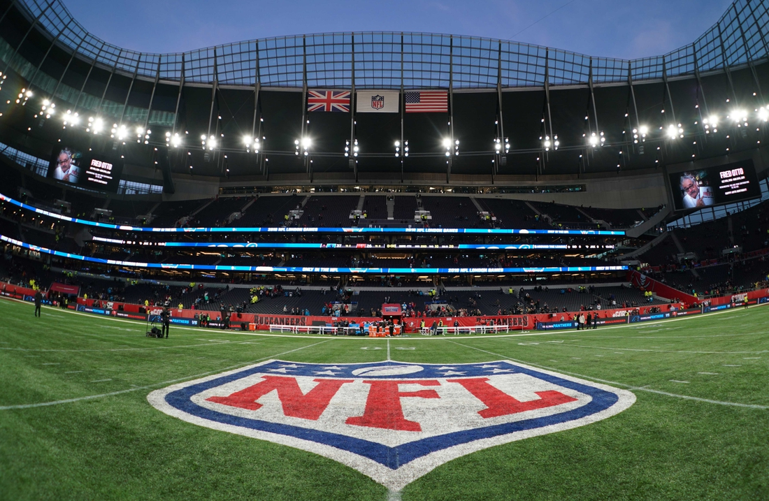 Oct 13, 2019; London, United Kingdom;  General overall view of the NFL shield logo at midfield during an NFL International Series game between the Carolina Panthers and the Tampa Bay Buccaneers at Tottenham Hotspur Stadium. Mandatory Credit: Kirby Lee-USA TODAY Sports
