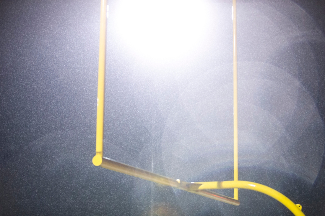 Rain falls over the goalposts during a first round Class 3A varsity football playoff game, Friday, Nov., 1, 2019, at Spartan Stadium in Solon, Iowa.  191101 Liberty Solon Fb 025 Jpg