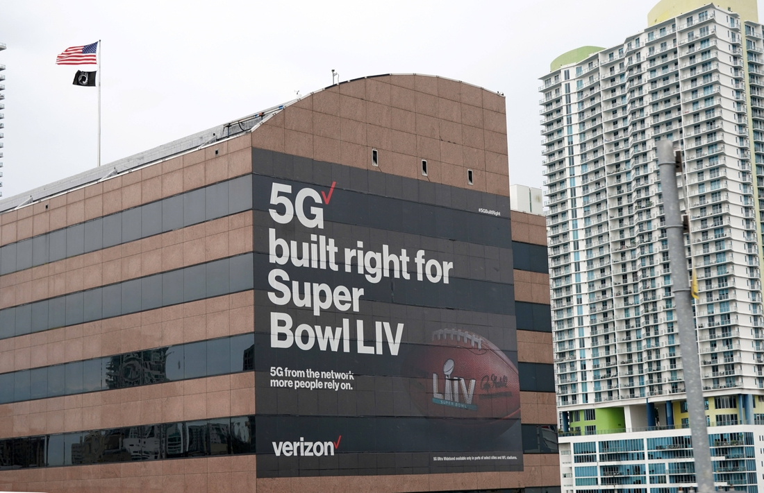 Feb 1, 2020; Miami, Florida, USA; General overall view of Verizon 5G advertisement prior to Super Bowl LIV.. Mandatory Credit: Kirby Lee-USA TODAY Sports
