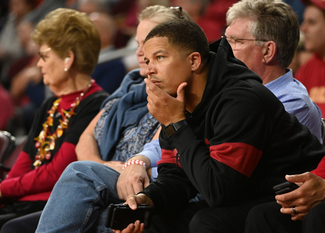 Feb 13, 2020; Los Angeles, California, USA;  USC Trojans defensive backs coach Donte Williams attends the game between the USC Trojans and the Washington Huskies at Galen Center. Mandatory Credit: Jayne Kamin-Oncea-USA TODAY Sports