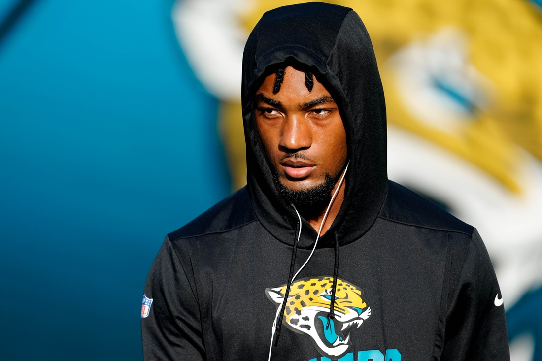 Sep 24, 2020; Jacksonville, Florida, USA; Jacksonville Jaguars cornerback CJ Henderson (23) looks on prior to a game between the Jaguars and the Miami Dolphins at TIAA Bank Field. Mandatory Credit: Douglas DeFelice-USA TODAY Sports