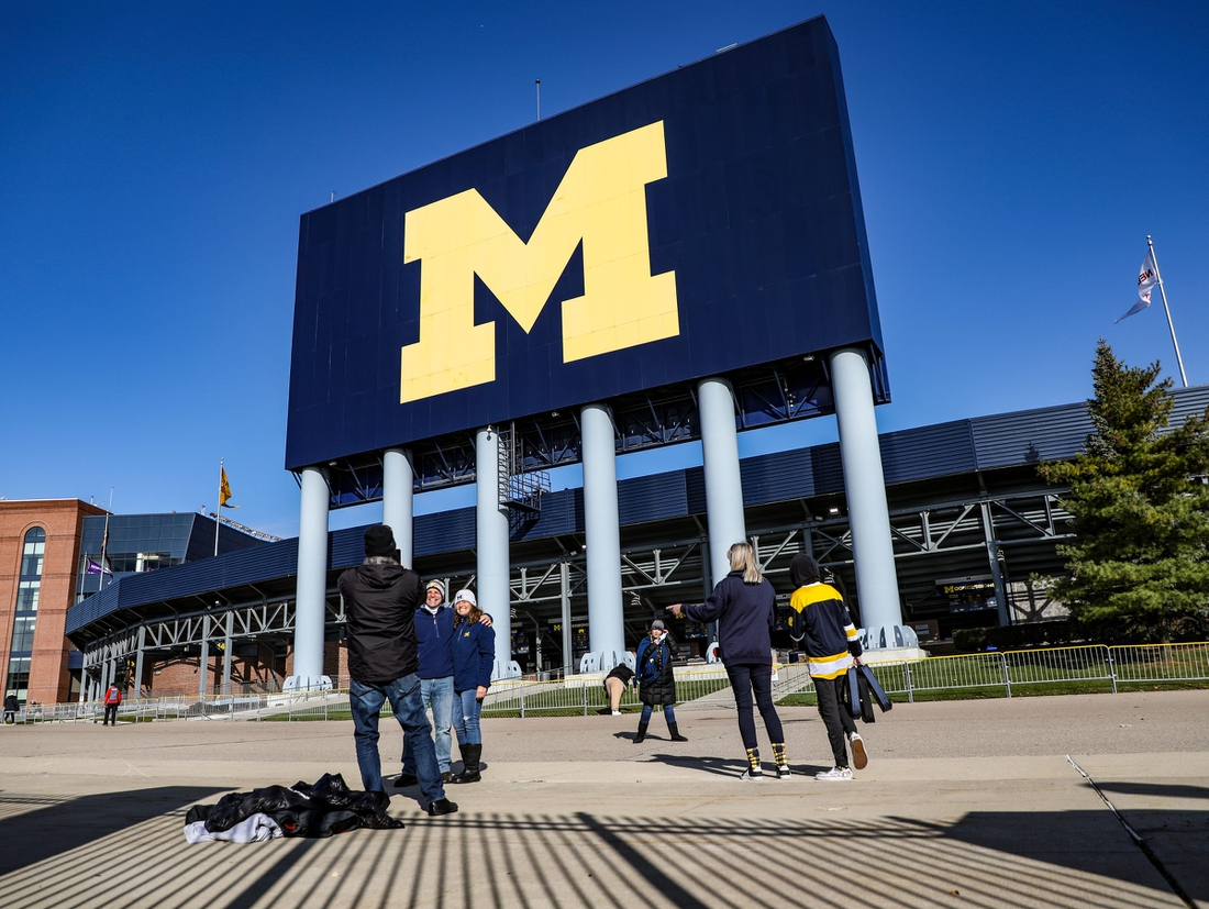 Only family and friends, besides media, were allowed to attend the Michigan Wolverines football game against rival Michigan State Spartans in Ann Arbor, Saturday, Oct. 31, 2020.Michigan Stadium entrance, M Go Blue logo, Go Blue, Block M logo