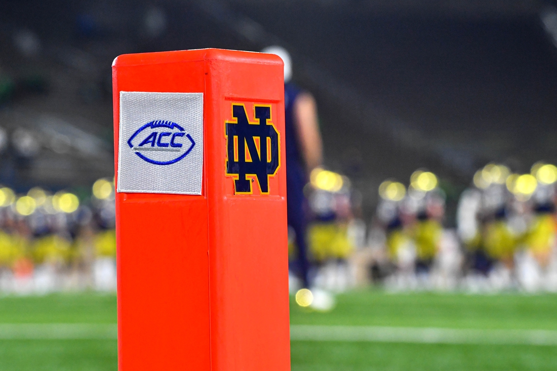 Nov 7, 2020; South Bend, Indiana, USA; An end zone pylon has the Notre Dame and ACC logos in at Notre Dame Stadium before the game between the Notre Dame Fighting Irish and the Clemson Tigers. Notre Dame is playing in the ACC in the 2020 season. Notre Dame defeated Clemson 47-40 in two overtimes. Mandatory Credit: Matt Cashore-USA TODAY Sports