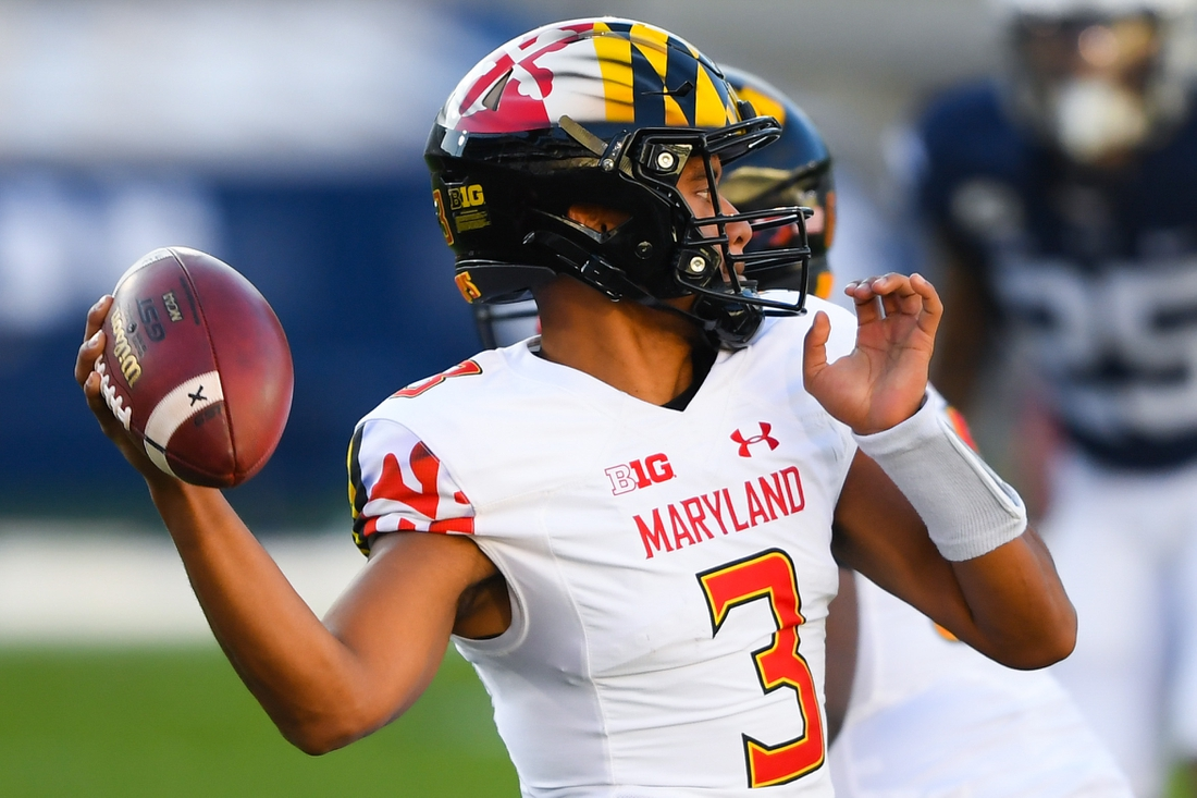 Nov 7, 2020; University Park, Pennsylvania, USA; Maryland Terrapins quarterback Taulia Tagovailoa (3) passes the ball against the Penn State Nittany Lions during the first quarter at Beaver Stadium. Mandatory Credit: Rich Barnes-USA TODAY Sports