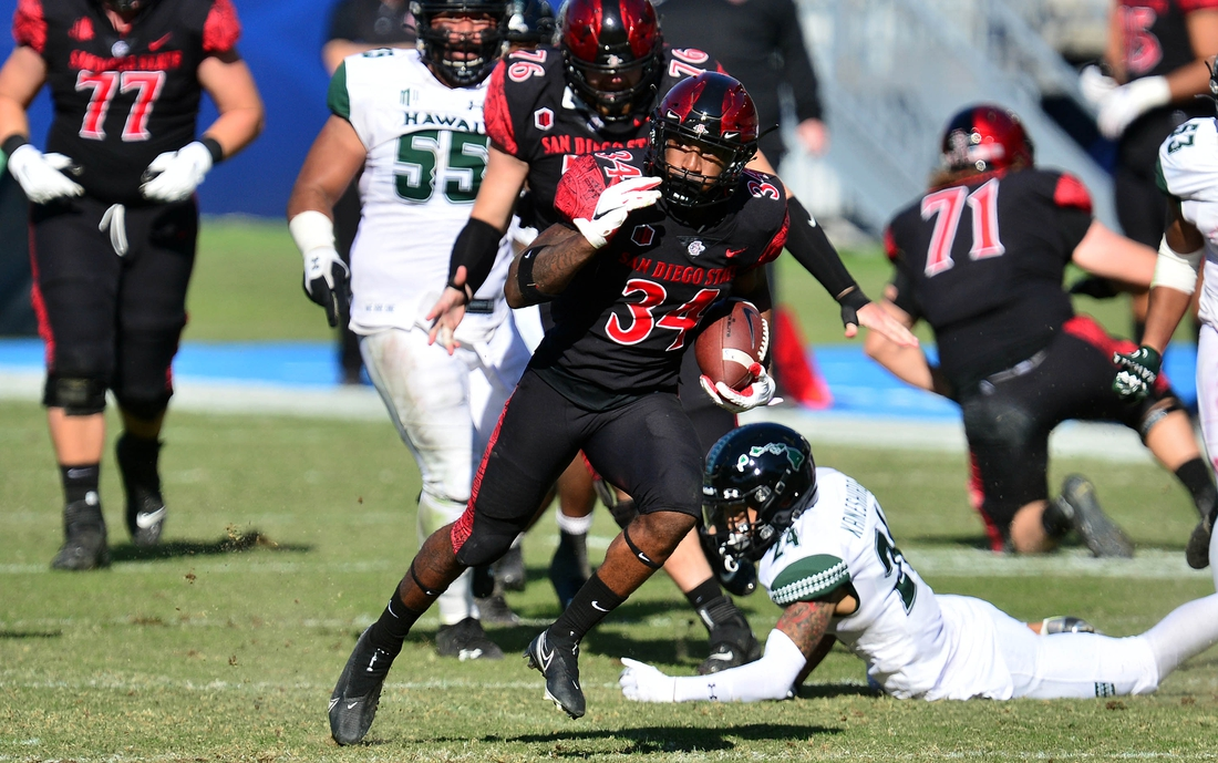 Nov 14, 2020; Carson, California, USA; San Diego State Aztecs running back Greg Bell (34) runs the ball for a touchdown against the Hawaii Warriors  during the first half at Dignity Health Sports Park. Mandatory Credit: Gary A. Vasquez-USA TODAY Sports