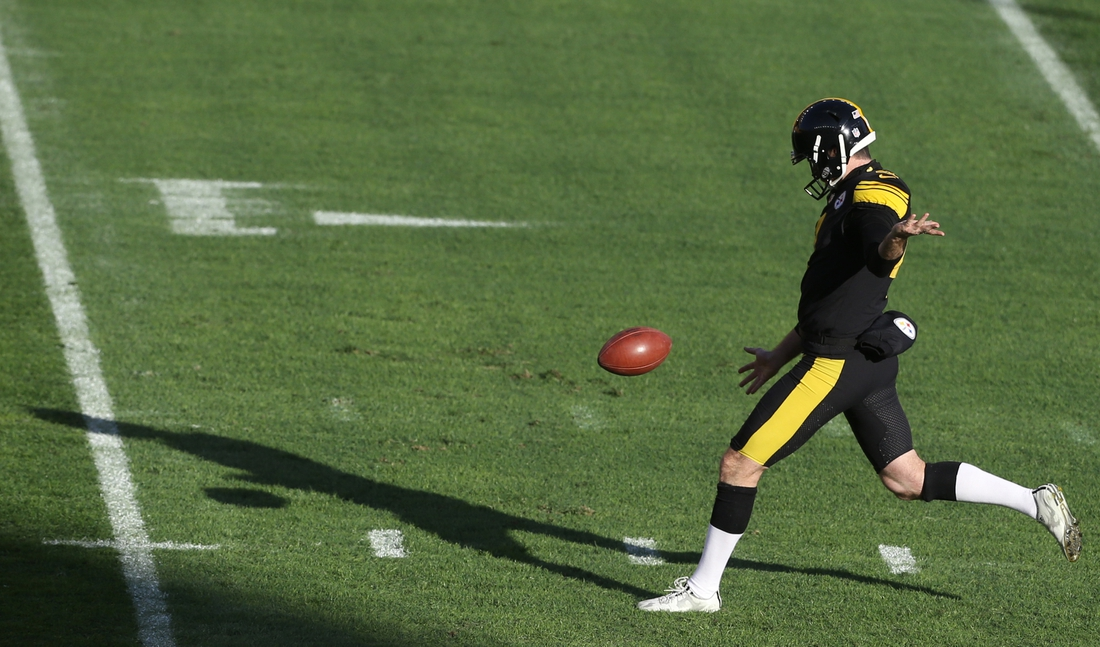 Dec 2, 2020; Pittsburgh, Pennsylvania, USA;  Pittsburgh Steelers punter Jordan Berry (4) warms up before playing the Baltimore Ravens at Heinz Field. The Steelers won 19-14. Mandatory Credit: Charles LeClaire-USA TODAY Sports