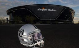 Dec 26, 2020; Paradise, Nevada, USA; A general view of a Las Vegas Raiders helmet outside of Allegiant Stadium  before the game against the Miami Dolphins. Mandatory Credit: Kirby Lee-USA TODAY Sports