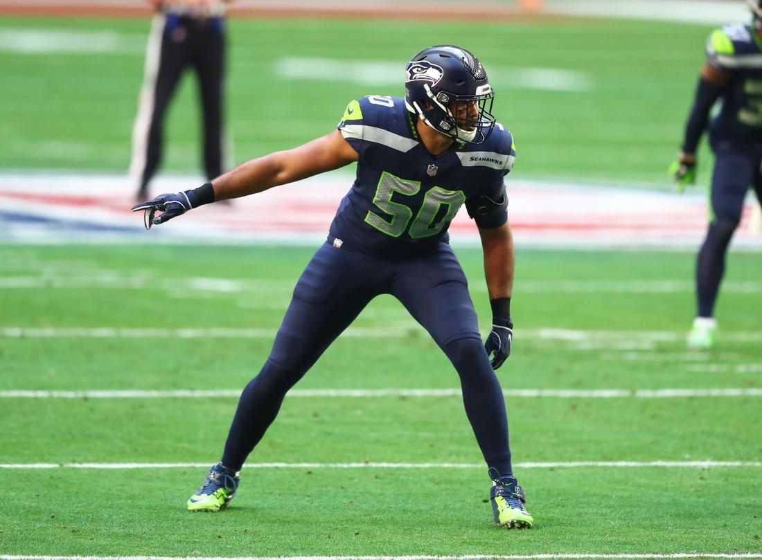 Jan 3, 2021; Glendale, Arizona, USA; Seattle Seahawks linebacker K.J. Wright (50) against the San Francisco 49ers at State Farm Stadium. Mandatory Credit: Mark J. Rebilas-USA TODAY Sports