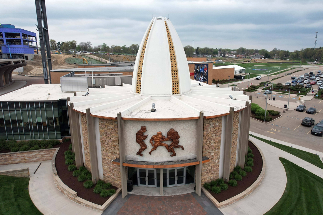 Apr 28, 2021; Canton, Ohio, USA; A general overall view of the Pro Football Hall of Fame. Mandatory Credit: Kirby Lee-USA TODAY Sports