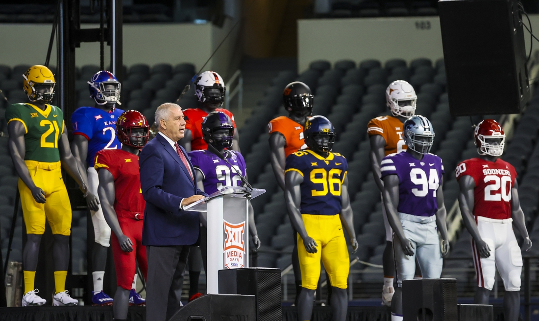Jul 14, 2021; Arlington, TX, USA;  Big 12 Commissioner Bob Bowlsby speaks to the media during Big 12 media days at AT&T Stadium. Mandatory Credit: Kevin Jairaj-USA TODAY Sports