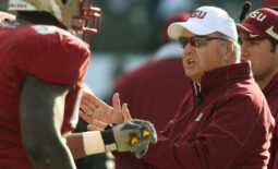 Jan. 1, 2010: Bobby Bowden congratulates his players as they leave the field following a third quarter touchdown during his final game against West Virginia at Jacksonville Municipal Stadium for the Gator Bowl. [Kelly Jordan, Florida Times-Union]